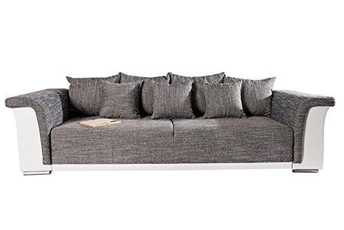 design big xl sofa bellina hellgrau strukturstoff wei schlaffunktion federkern m bel24. Black Bedroom Furniture Sets. Home Design Ideas