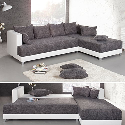 design ecksofa star strukturstoff in grau charcoal und wei inkl kissen bettkasten. Black Bedroom Furniture Sets. Home Design Ideas