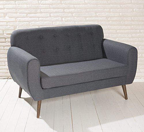 Design Polstersofa Roma dunkel grau Couch Sofa Stoffbezug Holzbeine Knopfdeko