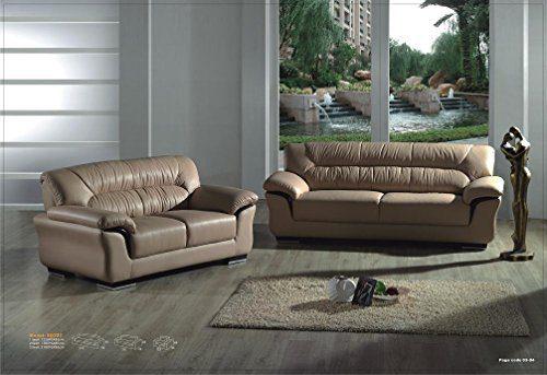 Design Voll-Leder-Sofa-Garnitur-Polstermöbel-Ledergarnitur Ledercouch Sessel 327-3+2-braun