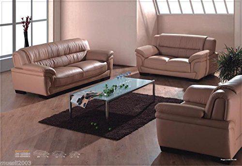 Design Voll-Leder-Sofa-Garnitur-Polstermöbel-Sessel 321-3+2+1
