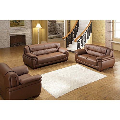 Design Voll-Leder-Sofa-Garnitur-Polstermöbel-Sessel 321-3+2+1-braun