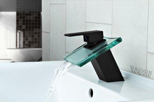 Design Wasserfall Bad Einhebel Armatur Matt Schwarz + Klarglas Eckig