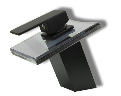 Design Wasserfall Bad Einhebel Armatur Matt Schwarz + schwarzes Glas