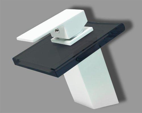 Design wasserfall bad einhebel armatur matt wei for Schwarzes glas