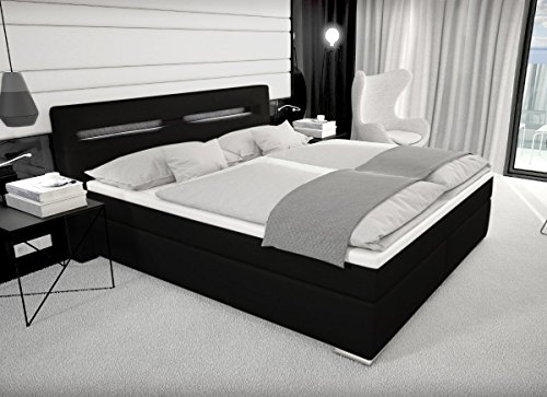 Designer boxspring bett paris mit bettkasten led for Bett mit led