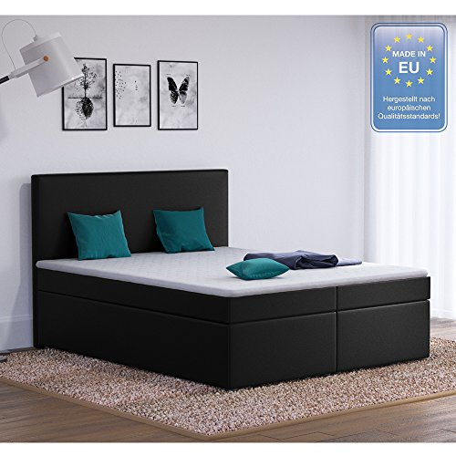 designer boxspringbett 160 200 doppelbett polsterbett bett hotelbett stoff schwarz 160 200. Black Bedroom Furniture Sets. Home Design Ideas