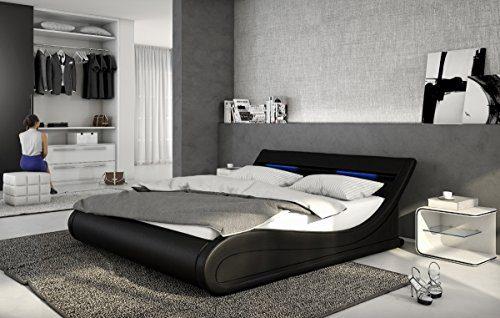 Designer Leder Bett Bellini Bellugia 140x200 oder 180x200 cm Polsterbett mit LED Beleuchtung Lederbett weiss oder schwarz wellenförmig modern gewelltes Bett günstig (140x200 schwarz)