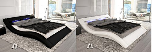 Designer Leder Bett Polsterbett mit 16 farbiger LED Beleuchtung Lederbett weiss oder schwarz wellenförmig modern gewelltes Bett günstig (160x200 cm)