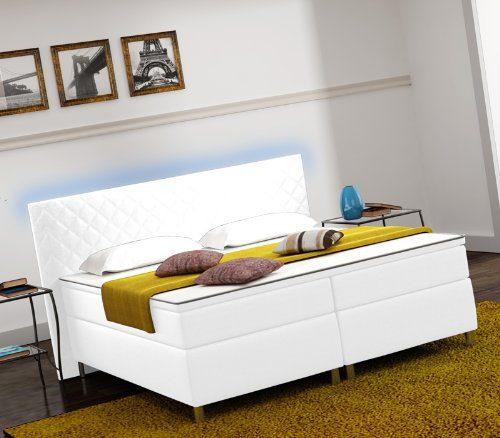 Designer Lederlook Boxspringbett mit LED Beleuchtung Hotelbett Doppelbett Polsterbett Ehebett amerikanisches Bett Modell Paris Typ 3 (160x200)