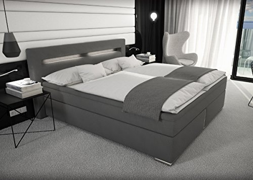 stoff boxspring bett mit led beleuchtung 180x200 cm farbe grau mit. Black Bedroom Furniture Sets. Home Design Ideas