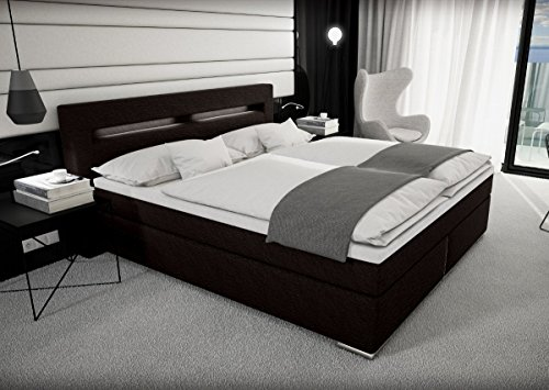 Designer Stoff Boxspring Bett Mit LED Beleuchtung 180x200