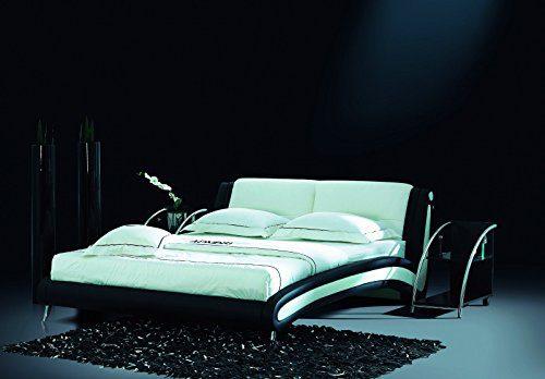 Designerbett Bett Polsterbett Kunstlederbett 180 x 200 cm Schwarz Weiß modernes Design inkl. Lattenrost