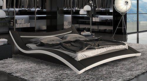 Designerbett Bett Seducce 140 x 200 cm Schwarz/Weiß modernes Design Wasserbett geeignet inkl. LED Beleuchtung