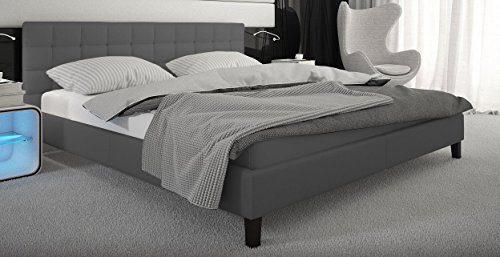 Designerbett Toro 180x200 inkl.Lattenrost Kunstleder grau