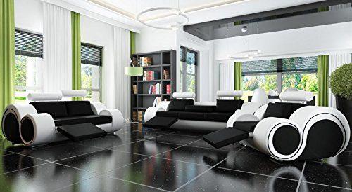 Designersofa Sofagarnitur Sofa Couch Polster Garnitur Ledersofa 3+2+1 BERLIN mit Relaxfunktion Sofort lieferbar