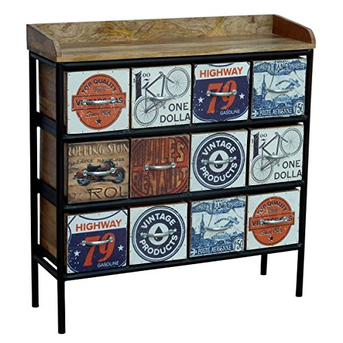 dielenkommode kommode anrichte svelvik massivholz und metall bunt breite 100 cm tiefe 30 cm. Black Bedroom Furniture Sets. Home Design Ideas