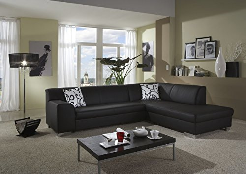 dreams4home polstersofa ecksofa 39 sol 39 schwarz kunstleder polsterm bel wohnzimmer sitzm bel. Black Bedroom Furniture Sets. Home Design Ideas