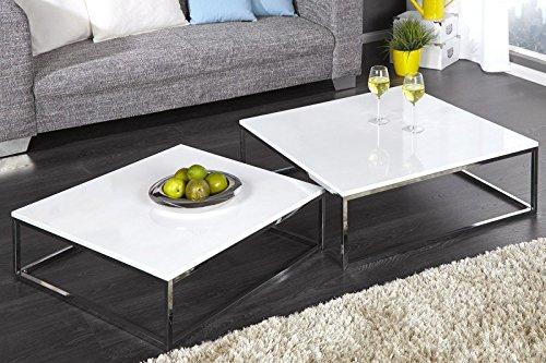 dunord design couchtisch beistelltisch 2er set stage weiss hochglanz chrom design tisch set. Black Bedroom Furniture Sets. Home Design Ideas