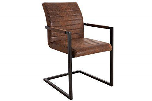 DuNord Design Stuhl Esszimmerstuhl VIENNA m Armlehnen Freischwinger Vintage braun Eisen