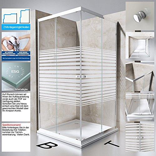 Duschabtrennung Duschkabine Ravenna14S aus ESG-Sicherheitsglas in Klarglas mit Milchglas Streifen mit NANO-Beschichtung, BTH: 80x80x190cm, Schiebetür, Eckeinstieg, Duschwand