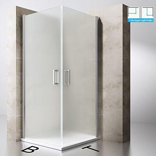 Duschabtrennung Duschkabine Ravenna22S aus ESG-Sicherheitsglas in Milchglas und NANO-Beschichtung, Drehtür, BTH: 75x90x190cm, Duschwand