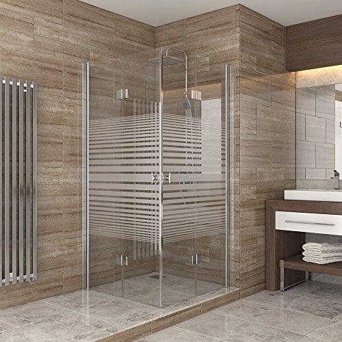 Dusche Duschkabine Falttür Echtglas Duschabtrennung Eckeinstieg Duschwanne 80x80 Streifen