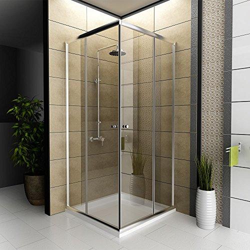 Dusche Echtglas / Duschkabine / Duschabtrennung / 80 x 80 x 190 cm / Modell Fugo Eckeinstieg / Preissenkung