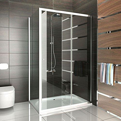 Duschkabine / Echtglas Duschabtrennung / Einscheibensicherheitsglas / Dusche ca. 120 x 90 x 190 cm / Sondermaß / Duschkabine mit Glasveredelung