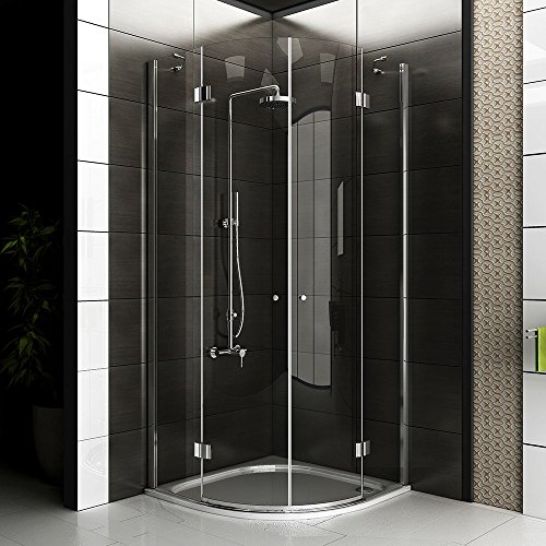 echtglas viertelkreis dusche duschkabine ca 90 x 90 x 200 cm duschkabine rahmenlos. Black Bedroom Furniture Sets. Home Design Ideas