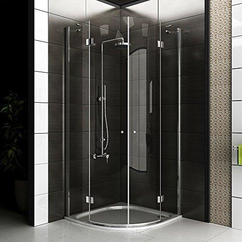 Echtglas Viertelkreis Dusche / Duschkabine ca. 90 x 90 x 200 cm / Duschkabine rahmenlos / Alpenberger / Modell Beli Clear 90x90 / Duschabtrennung aus Sicherheitsglas