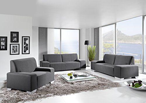 Eckgarnitur Siena 3-2-1, Sofaecke, Sofa, Garnitur in Nubuk Grau