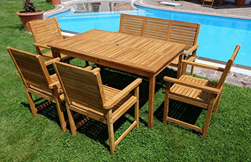 edle gartengarnitur gartenset gartenm bel garnitur sitzgruppe saria eu mit 4 sessel 1 bank und. Black Bedroom Furniture Sets. Home Design Ideas