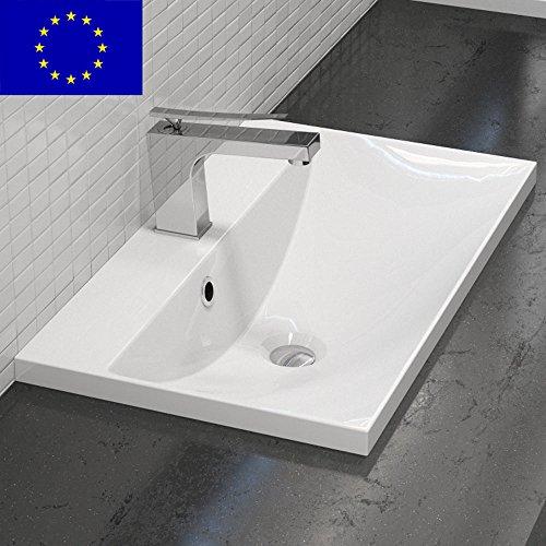Einbau-Waschbecken 60x35cm eckig | Einbau-Waschtisch zum einlassen in eine Platte | Material: hochwertiges Mineralguss | Qualität MADE IN EU