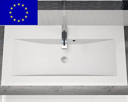 Einbau-Waschbecken 90x45x15cm eckig | 90cm Einbau-Waschtisch zum einlassen in eine Platte | Material: hochwertiges Mineralguss | Qualität MADE IN EU