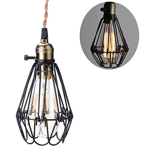 Einkopf Retro Vintage Lampenschirm LED Lampen Hängelampe Hängeleuchte Deckenleuchte Pendelleuchte Edison Industriebeleuchtung Birdcage Chandelier Eisen Schwarz