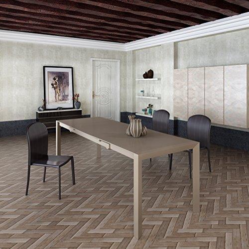 justhome talon esszimmertisch k chentisch esstisch aus glas transparent schwarz lxbxh. Black Bedroom Furniture Sets. Home Design Ideas