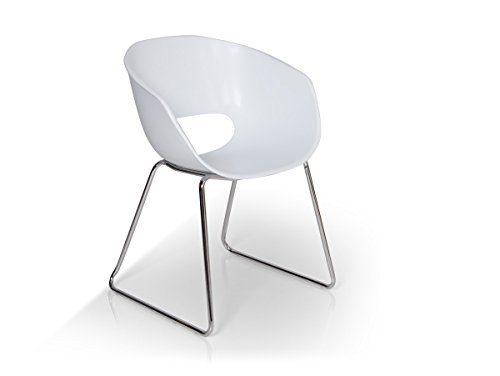 Esstischstuhl RETRO Kunststoff weiß/mit Metallgestell
