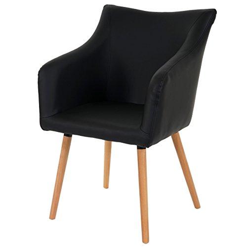 Esszimmerstuhl Malmö T382, Stuhl Lehnstuhl, Retro 50er Jahre Design ~ Kunstleder, schwarz