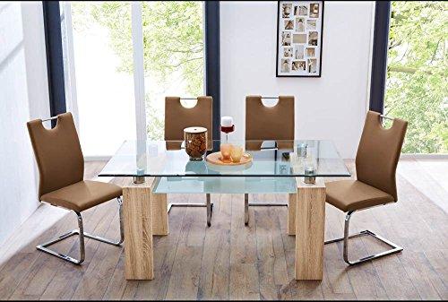 esszimmertisch esstisch kchentisch tisch glastisch glasplatte glas eiche sgerau sonoma ablage. Black Bedroom Furniture Sets. Home Design Ideas