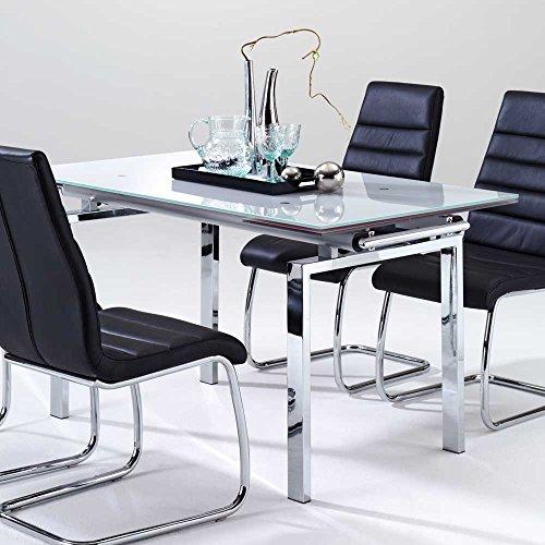 esszimmertisch mit glasplatte ausziehbar breite 200 cm tiefe 80 cm verl ngerbar um je 30 cm min. Black Bedroom Furniture Sets. Home Design Ideas