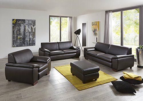 Garnitur Sofa Tokio Lederlook Braun 3-2-1 Kunstleder
