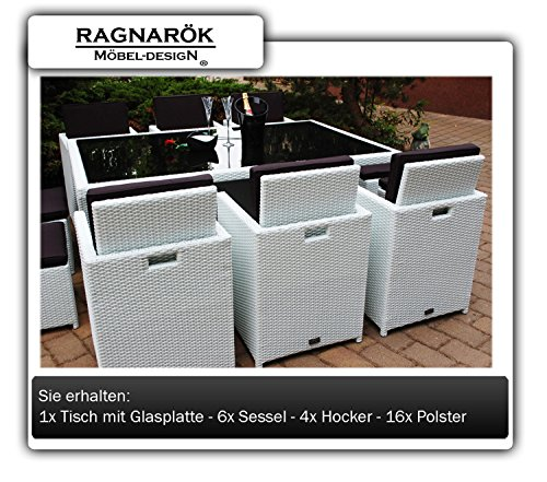 gartenm bel polyrattan essgruppe tisch mit 6 st hlen 4. Black Bedroom Furniture Sets. Home Design Ideas
