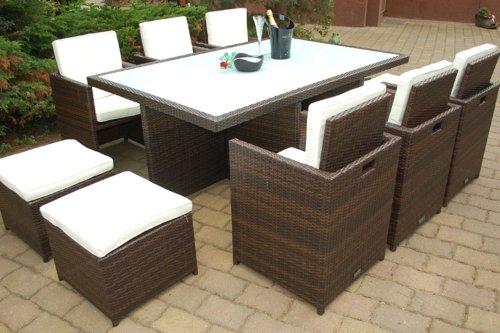 gartenm bel polyrattan essgruppe tisch mit 8 st hlen 4 hocker deutsche marke eignene. Black Bedroom Furniture Sets. Home Design Ideas