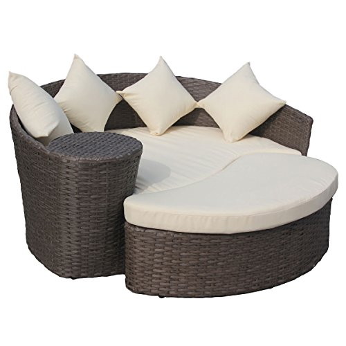 gartensofa mit hocker halbrunde lounge insel polyrattan braun cremefarben m bel24 xxl. Black Bedroom Furniture Sets. Home Design Ideas