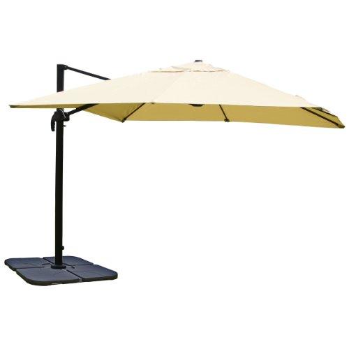 Gastronomie-Luxus-Ampelschirm Sonnenschirm N22, 4,3 m ~ creme mit Ständer
