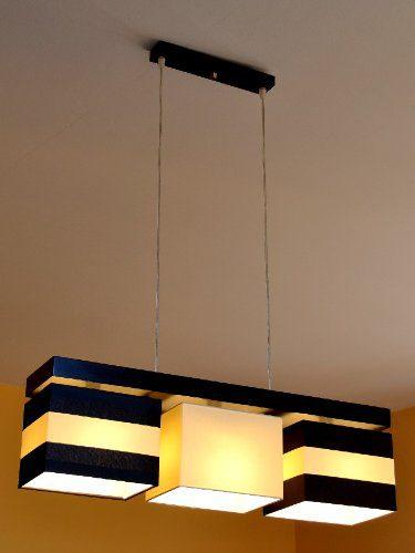 Hängelampe Hängeleuchte Pendellampe TOP Designer Lampe PORTO 3 flammig Edel Creme-Streifen