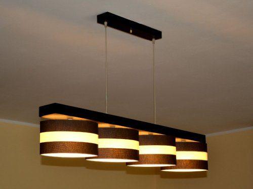 Hängelampe Hängeleuchte Pendellampe TOP Designer Lampe ROMA 4 flammig Edel (Creme - Streifen)