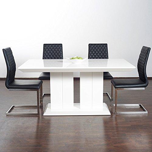 hochglanz esstisch tisch marbella 160x90cm lack weiss s ulentisch m bel24 xxl m bel. Black Bedroom Furniture Sets. Home Design Ideas