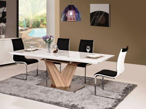 Hochglanz Weiß Esstisch Alaras 90x160x75 ausziehbar auf 220cm Säulentisch Sonoma Eiche Holz ...